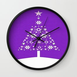 Christmas Tree Made Of Snowflakes On Violet Background  Wall Clock