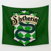 slytherin Wall Tapestries featuring Slytherin Crest by AriesNamarie
