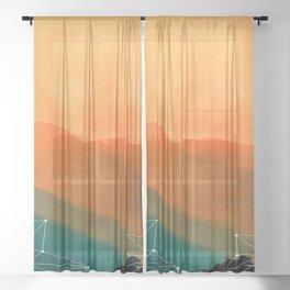 Orange Geometric Mountains Sheer Curtain