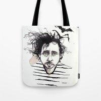 tim burton Tote Bags featuring Tim Burton by Jess Rose