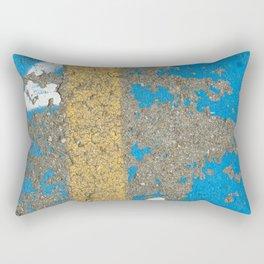 Urban Texture Photography - Painted Asphalt - Blue and Yellow Rectangular Pillow
