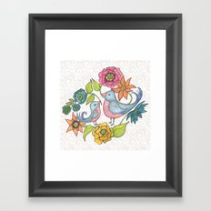 Blue Bird Garden Framed Art Print