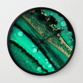 Malachite inspired alcohol ink painting with flecks of gold and hints of black and emerald green Wall Clock