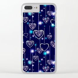 Openwork hearts on bright blue background. Clear iPhone Case