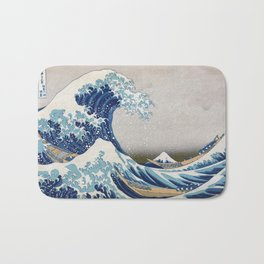 Under the Wave off Kanagawa - The Great Wave - Katsushika Hokusai Bath Mat