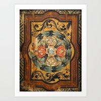 medieval wood painting Art Print