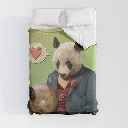 Wise Panda: Love Makes the World Go Around! Duvet Cover