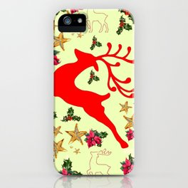 DECORATIVE LEAPING RED DEER  & HOLY BERRIES CHRISTMAS  ART iPhone Case