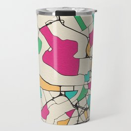 Colorful City Maps: Antwerp, Belgium Travel Mug