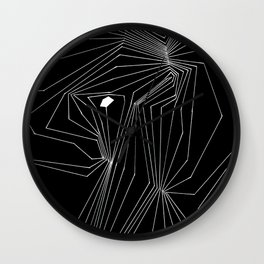 Confinement Black Ink on White Geometric Drawing Inverted Wall Clock