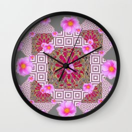 Grey Abstract Pink Roses Floral Pattern Wall Clock