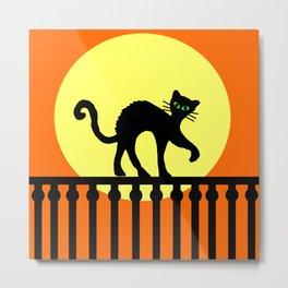 Black Cat Green Eyes on Fence Yellow Full Moon Orange Metal Print