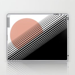 Rising Sun Minimal Japanese Abstract White Black Rose Laptop & iPad Skin
