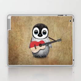 Baby Penguin Playing Indonesian Flag Acoustic Guitar Laptop & iPad Skin