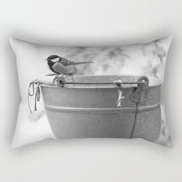 Songbird (Great Tit) on Autumn Day Black and White #decor #society6 #buyart Rectangular Pillow