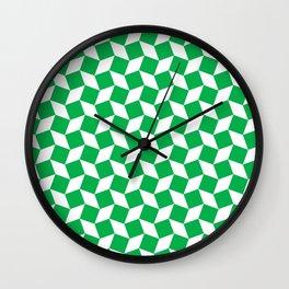Green Op Art Pattern Wall Clock