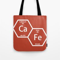 cafe Tote Bags featuring CaFe by Rhodium Clothing