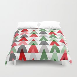 Geometric Triangles | red green white Duvet Cover