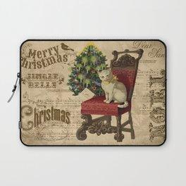 Vintage Christmas Cat Laptop Sleeve