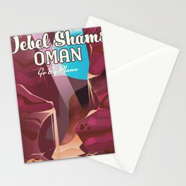 Jebel Shams, Oman Travel poster Stationery Cards