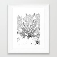oslo Framed Art Prints featuring OSLO by Maps Factory