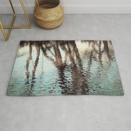 Blue Brown Abstract Water Reflections Photography, Water Ripples Tree Lake Reflection Photo Rug