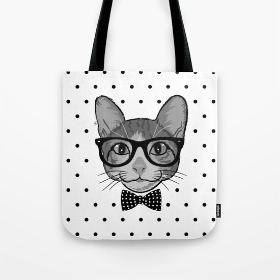 Cat Hipster With Bow Tie - Polka Dots Pattern Tote Bag