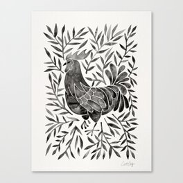 Le Coq – Watercolor Rooster with Black Leaves Canvas Print