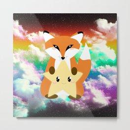Cute Fox and Star Metal Print