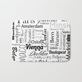 European capitals on white Bath Mat
