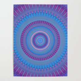 Electric Purple Blue Mandala Poster