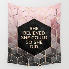 She Believed She Could - Grey Pink Wall Tapestry