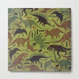 Camouflage Dinosaur Geometric Pattern Metal Print