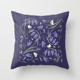 Bluebells and bumblebees - Violet Throw Pillow