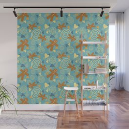 Kitchen Born and Gingerbread - Blue-Yellow Wall Mural