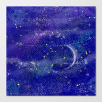 night sky Canvas Prints featuring Night Sky by Forever Art & Fashion_Leslie Troisi