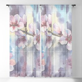Blossoming almond Sheer Curtain
