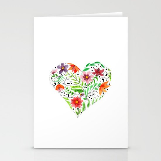 Heart of Flowers Stationery Cards