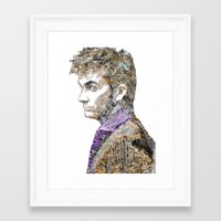 david tennant Framed Art Prints featuring David Tennant Dr. Who Text portrait by Mike Clements