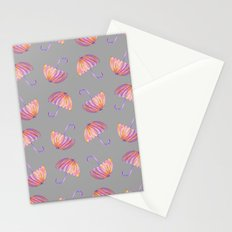 UMBRELLAS GRAY Stationery Cards
