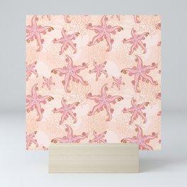 Starfish and Coral Pink Pastel Pattern Mini Art Print