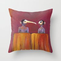 theater Throw Pillows featuring Theater masks by Bunny Noir