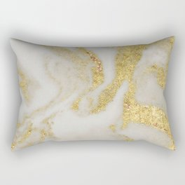 Marble - Swirled Shimmer Gold Marble Yellow on White Marble Rectangular Pillow