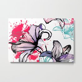 Splashy Flowers Metal Print