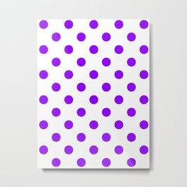 Polka Dots - Violet on White Metal Print