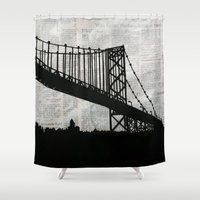 newspaper Shower Curtains featuring News Feed , Newspaper Bridge Collage, night silhouette cityscape news paper cutout, black and white  by Irene's Goodies