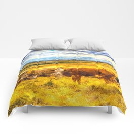 Late Afternoon Cows Art Comforters