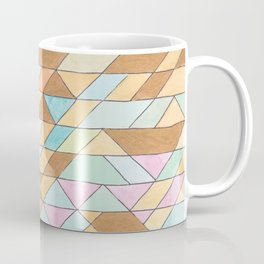 Triangle Pattern No. 25 Gold Pink Turqouise Coffee Mug