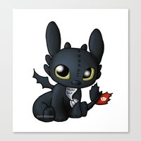 chibi Canvas Prints featuring Chibi Toothless by Katie Simpson a.k.a. Redhead-K