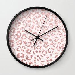 Faux pink glitter leopard pattern illustration on pink lace Wall Clock